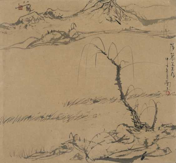 Zhang Nan, pasture, pen and ink, and colors, under glass, framed - photo 1