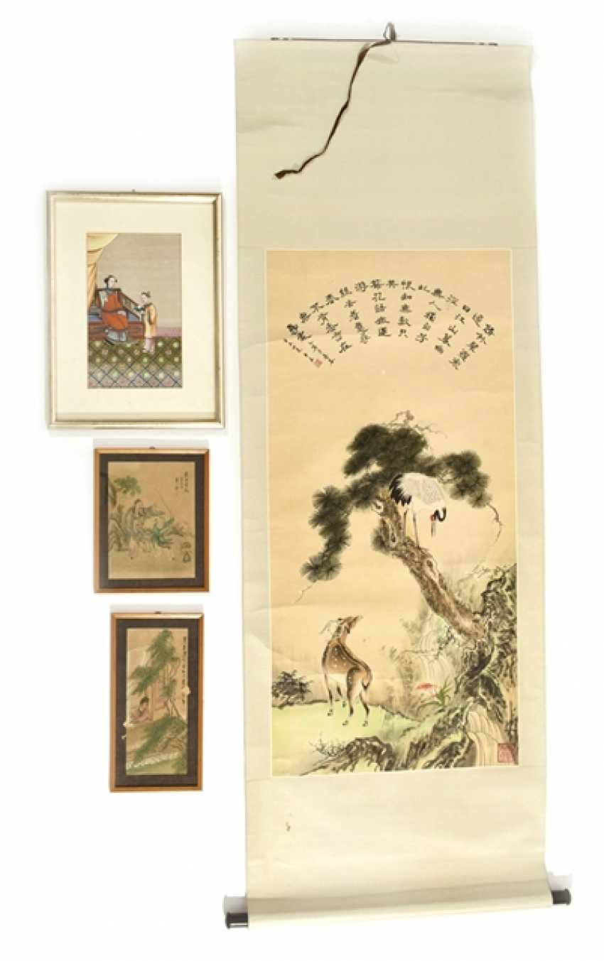 Three framed paintings and a hanging scroll with deer and crane display - photo 1