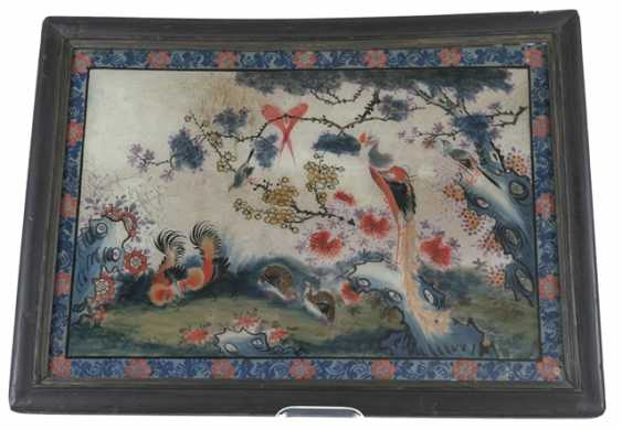 Behind-glass painting with chickens, quail, and peacock - photo 1