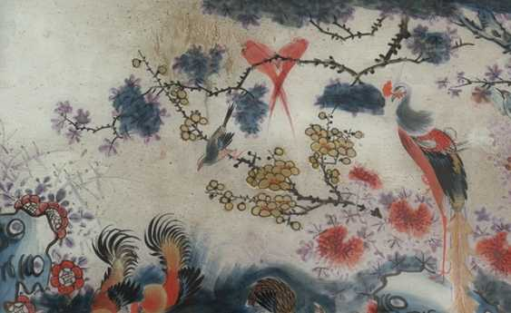 Behind-glass painting with chickens, quail, and peacock - photo 2