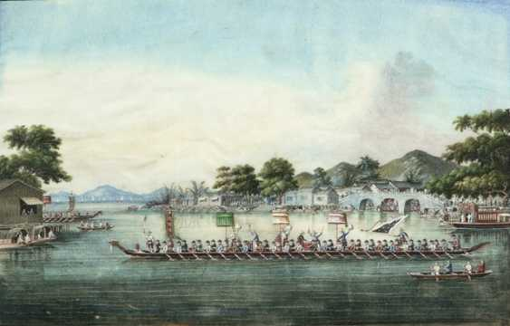 Two fine rice paper paintings, a Harbor view, and a dragon boat race - photo 1