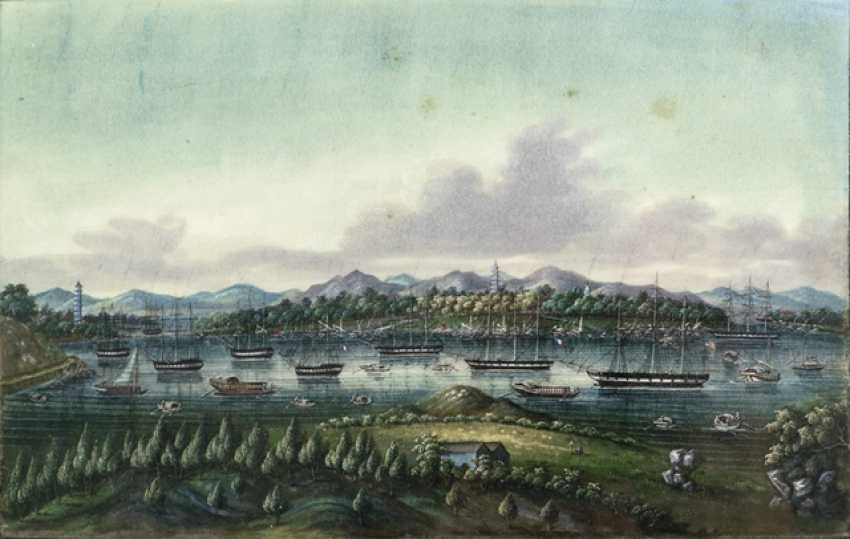 Two fine rice paper paintings, a Harbor view, and a dragon boat race - photo 2