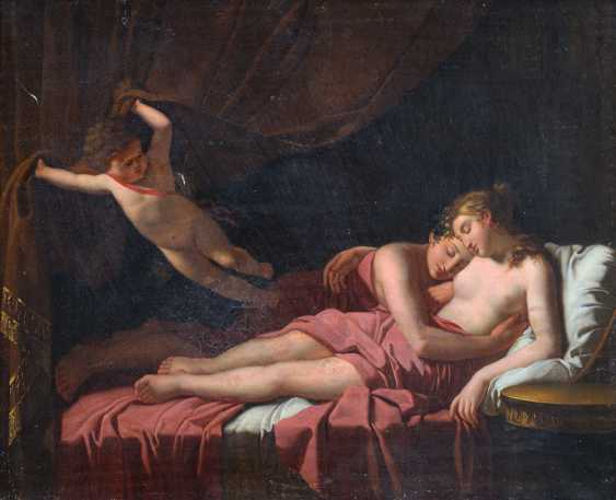 Jacques-Louis David (1748-1825)-circle, Two lovers on bed stead presented by Amor opening the curtain - photo 2