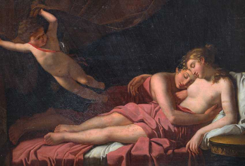 Jacques-Louis David (1748-1825)-circle, Two lovers on bed stead presented by Amor opening the curtain - photo 3