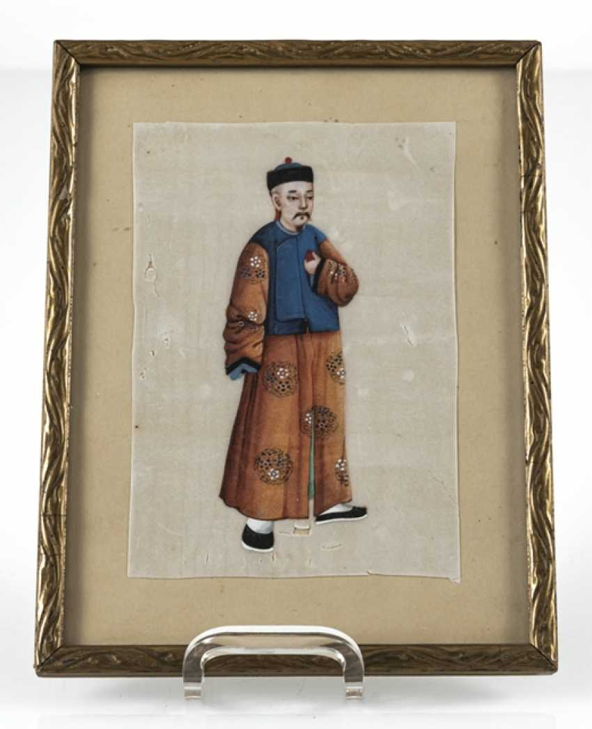 Three framed rice paper paintings with figurative representations - photo 4