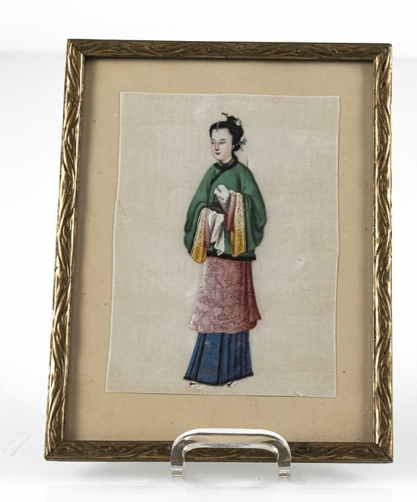 Three framed rice paper paintings with figurative representations - photo 5