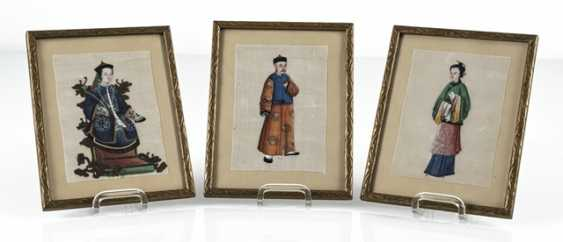 Three framed rice paper paintings with figurative representations - photo 6