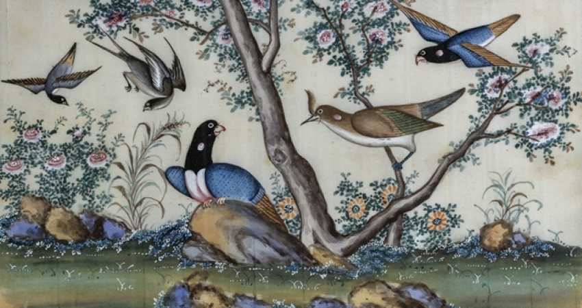 Two Rice paper paintings of birds and plants, under glass framed - photo 2