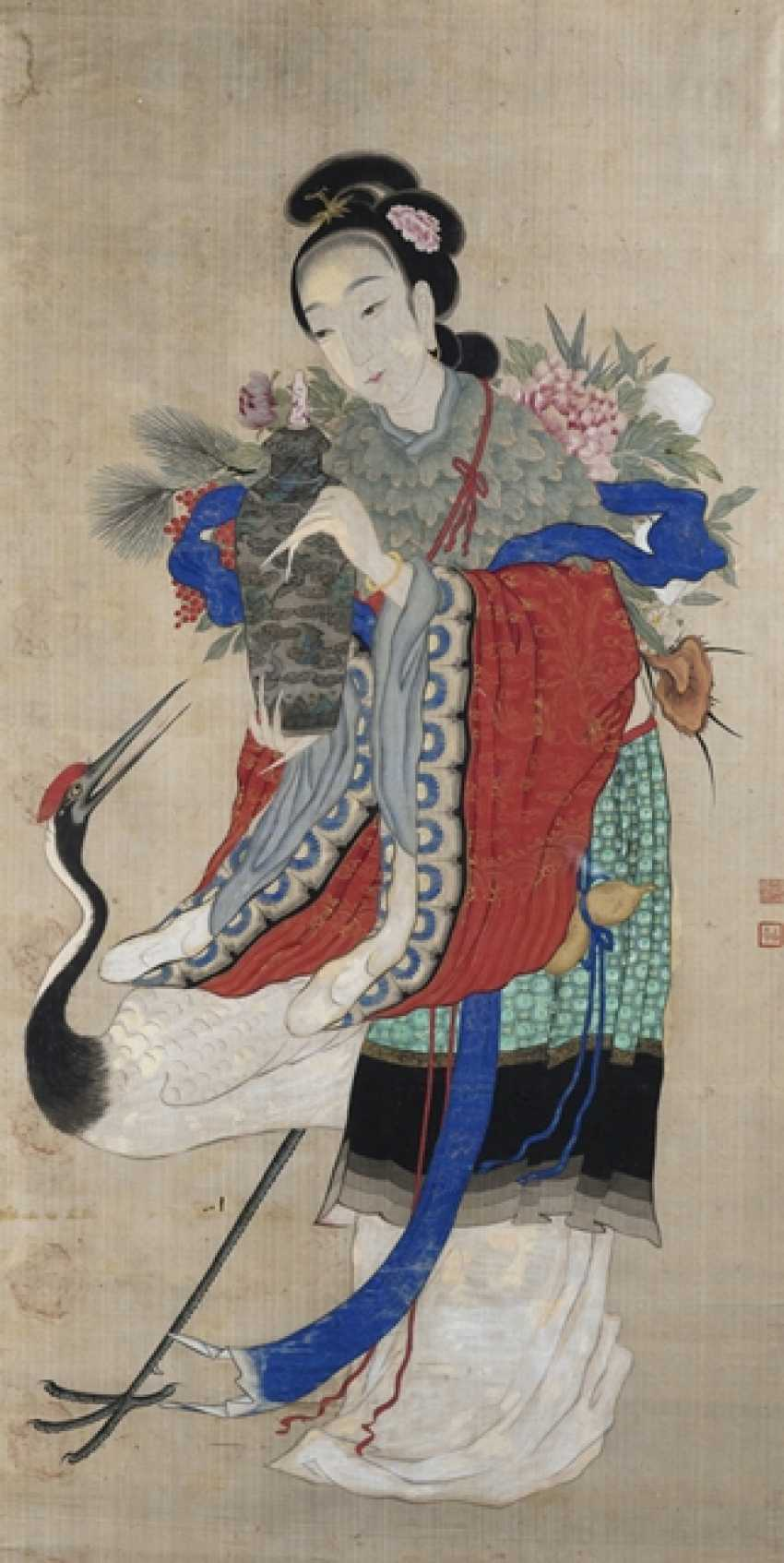 Anonymous representation of the Magu with a crane and flower basket - photo 1