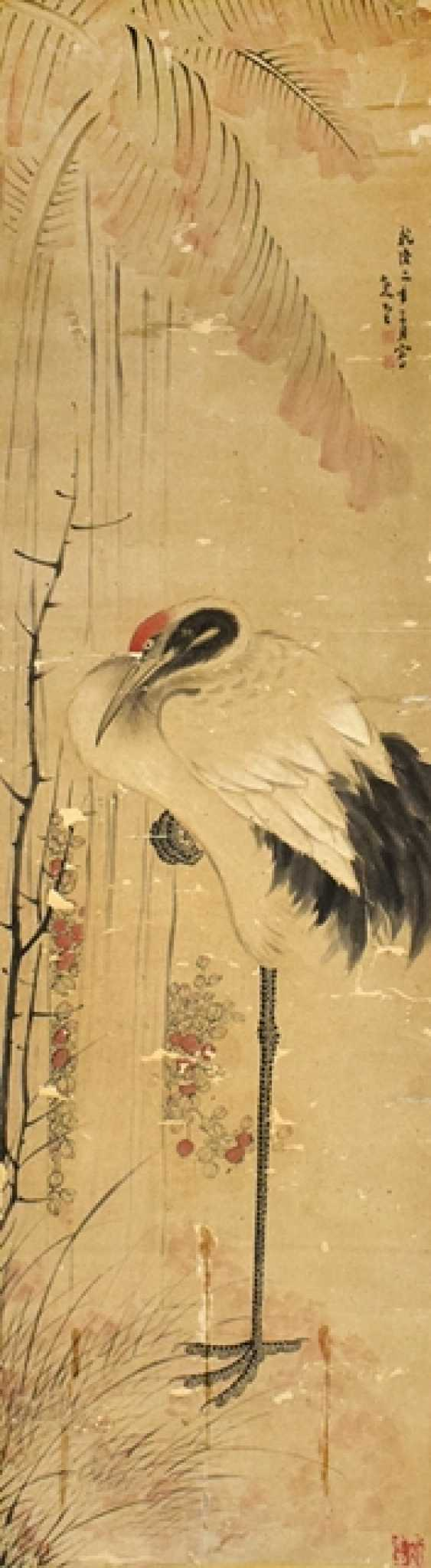 Crane is under the fiber of banana leaf in the style of Li Shan (1686-1762), hanging scroll on paper - photo 1