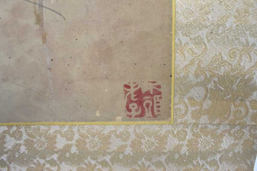 Crane is under the fiber of banana leaf in the style of Li Shan (1686-1762), hanging scroll on paper - photo 3