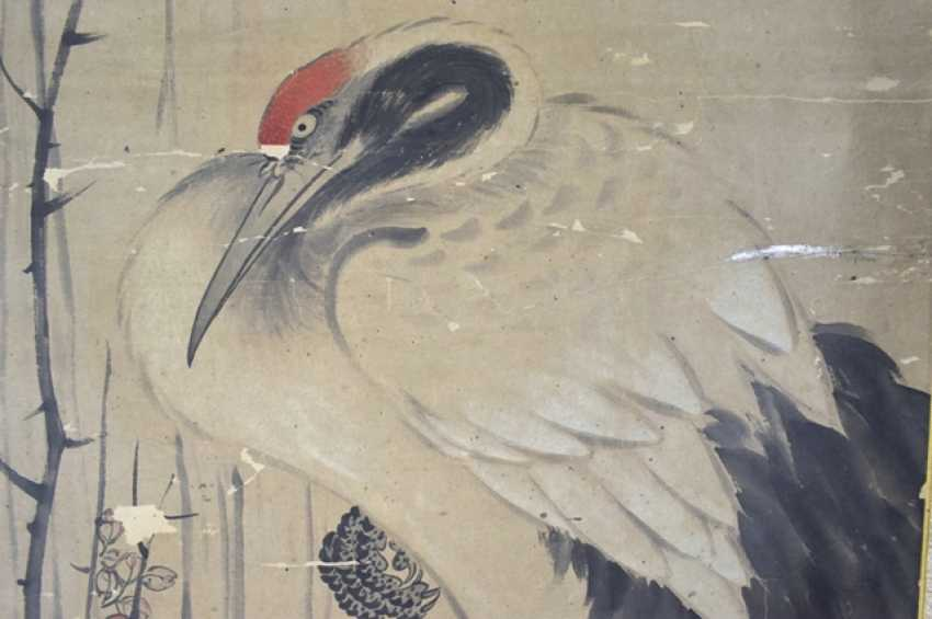Crane is under the fiber of banana leaf in the style of Li Shan (1686-1762), hanging scroll on paper - photo 4