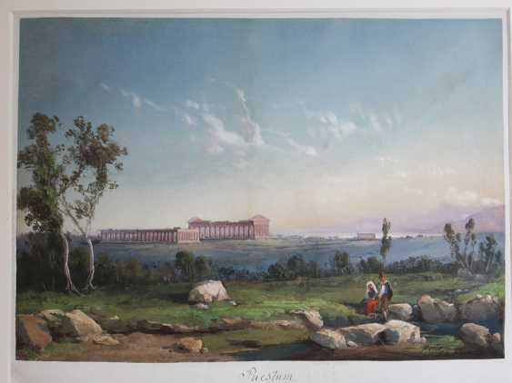 Gioacchino La Pira (1839-1870), View of Paestum with the monuments and some shepperds in the foreground - photo 2