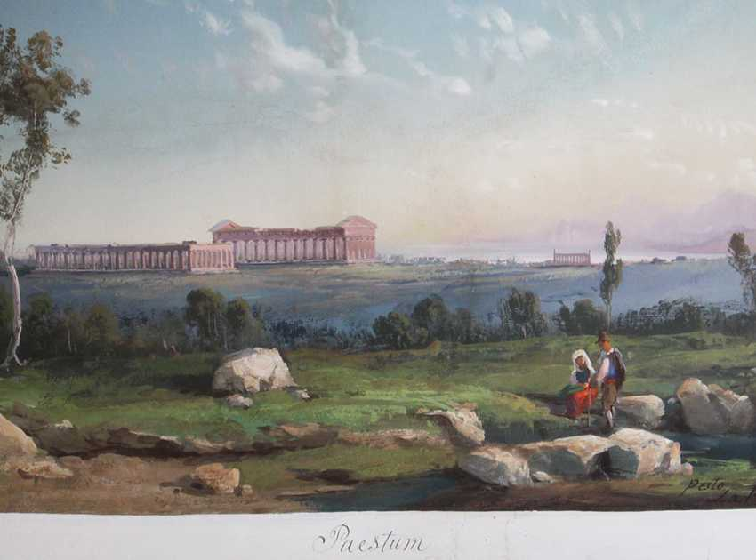 Gioacchino La Pira (1839-1870), View of Paestum with the monuments and some shepperds in the foreground - photo 3