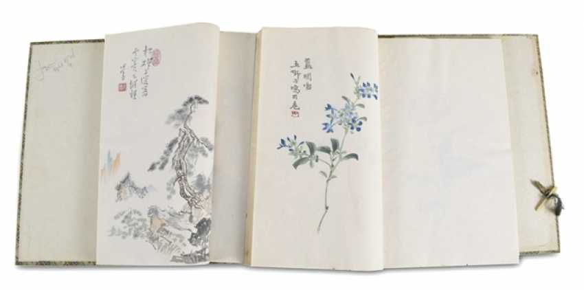 Two volumes with a collection of paintings by Qi Baishi in brocade-covered cassette - photo 1