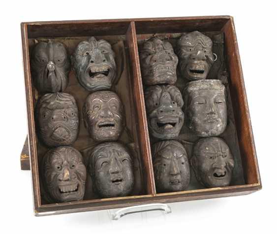 Set with twelve small Gigaku-masks made of wood with varnish edition - photo 1