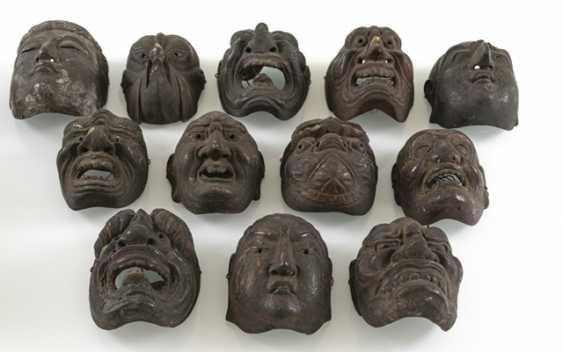 Set with twelve small Gigaku-masks made of wood with varnish edition - photo 2