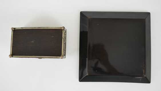 Lacquer tray with floral decoration and metal lid - photo 5