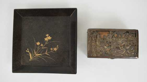 Lacquer tray with floral decoration and metal lid - photo 6