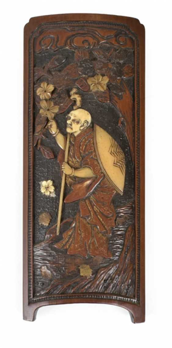 Armrest with wood - and ivory carving - photo 1