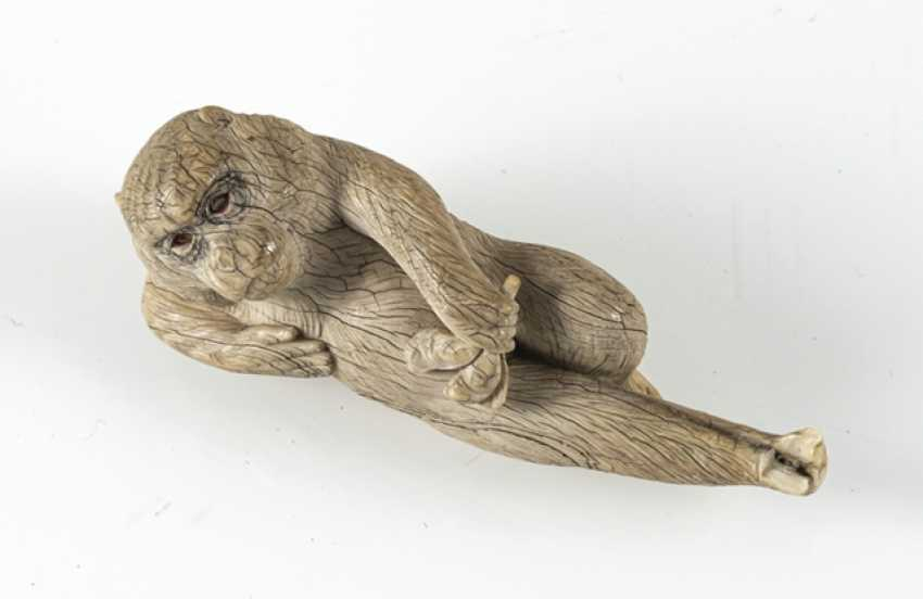 Okimono of a reclining monkey ivory - photo 6