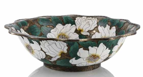 Silver plated shell made of copper with floral decoration in multicoloured enamel Cloisonné - photo 1