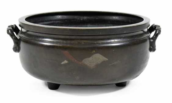 Large Bronze Hibachi with inlaid decor - photo 1
