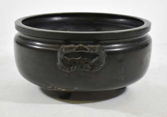 Large Bronze Hibachi with inlaid decor - photo 3