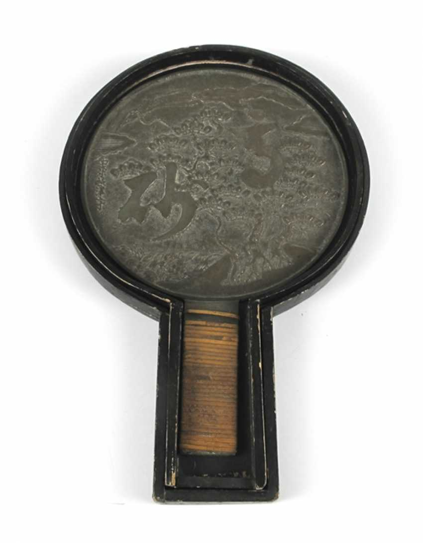 Bronze mirror with a matching lid box made of wood - photo 1
