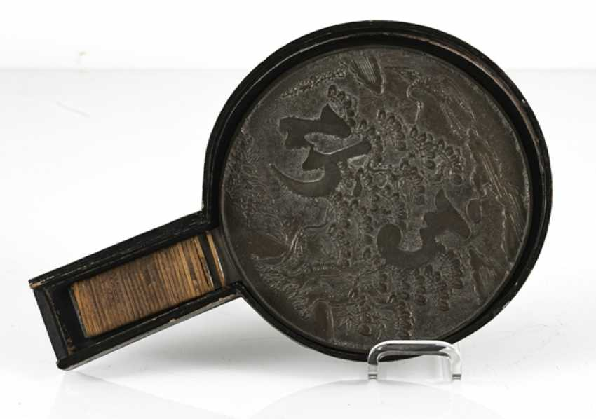Bronze mirror with a matching lid box made of wood - photo 3