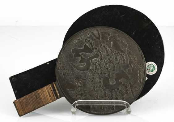 Bronze mirror with a matching lid box made of wood - photo 4