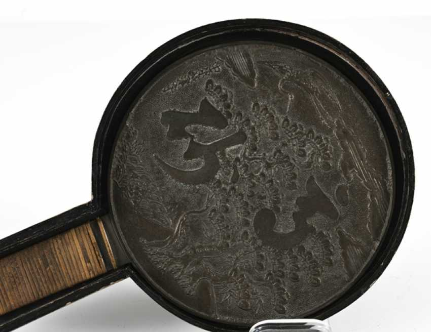 Bronze mirror with a matching lid box made of wood - photo 5