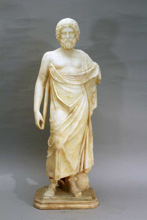 Italian alabaster sculpture of Hippocrates of Kos (c. 460 – c. 370 BC) in standing position with toga, a stick in his hands and snake at his feet - photo 1