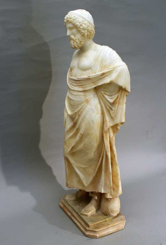 Italian alabaster sculpture of Hippocrates of Kos (c. 460 – c. 370 BC) in standing position with toga, a stick in his hands and snake at his feet - photo 2