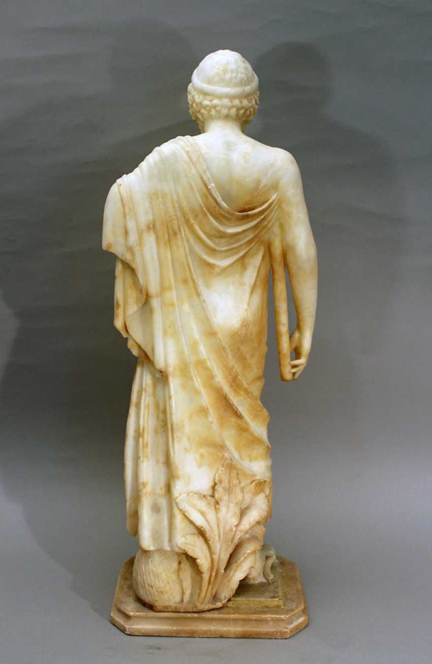Italian alabaster sculpture of Hippocrates of Kos (c. 460 – c. 370 BC) in standing position with toga, a stick in his hands and snake at his feet - photo 3