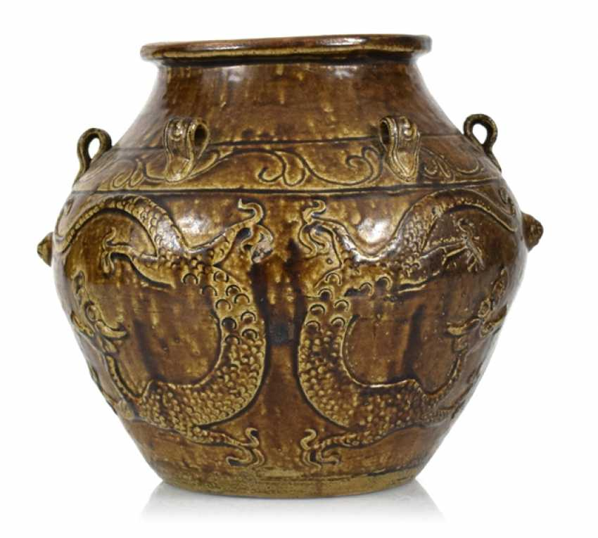 Brown glazed shoulder pot with dragon decoration in Relief - photo 1