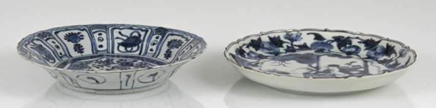 The flower-shaped Kakiemon Cup and the Kraak-porcelain plate, underglaze blue decorated - photo 3