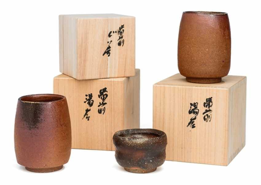 Name Tôzan Mori (born. 1938), two tea cups (Yunomi) and a sake Cup (Guinomi) - photo 2