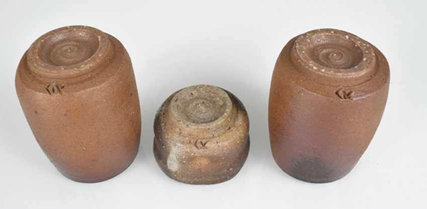 Name Tôzan Mori (born. 1938), two tea cups (Yunomi) and a sake Cup (Guinomi) - photo 3