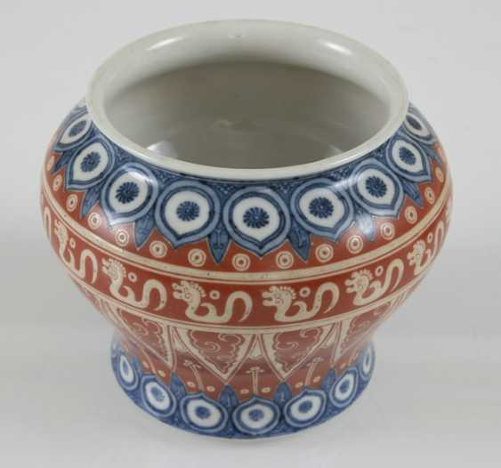Red-and-blue-enameled lid pot with decor archaist of the dragon - photo 2