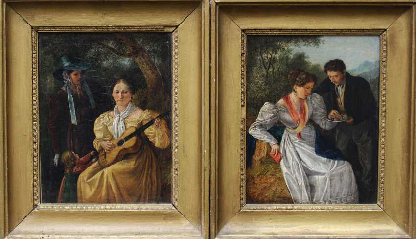 Matthias Rudolf Toma (1792-1869), A pair of paintings showing a couple with fruits in landscape and two ladies making music with a child in landscape - photo 1