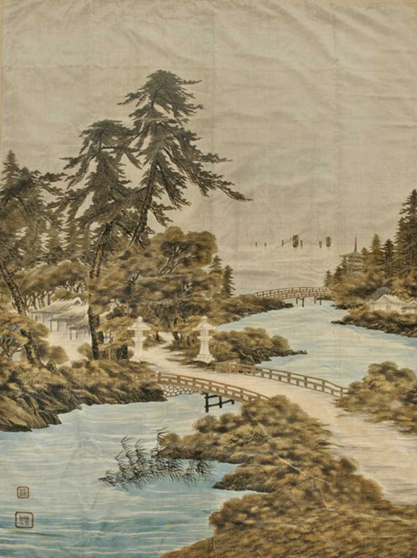 Large silk velvet curtain with a depiction of the landscape - photo 1