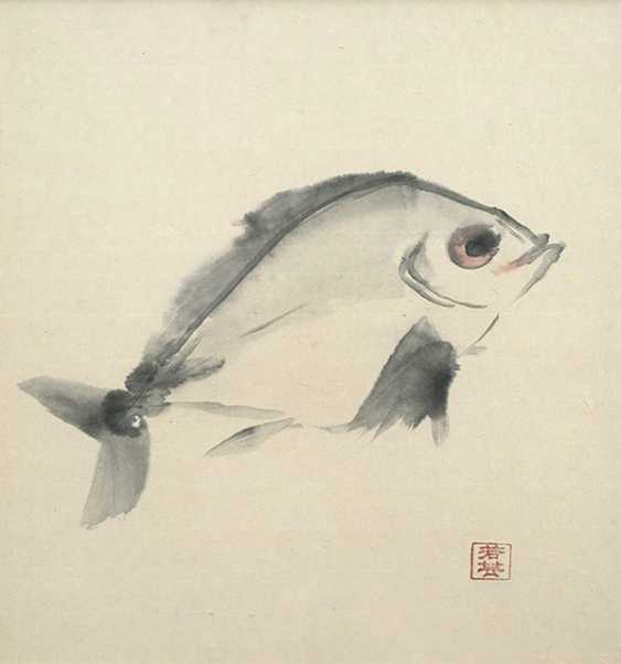 Jakugei: fish, painting, under glass, framed - photo 1