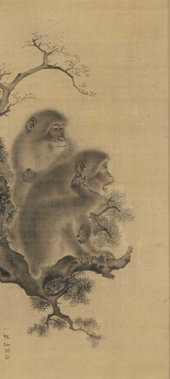Two monkeys on a Branch, behind glass framed - photo 1