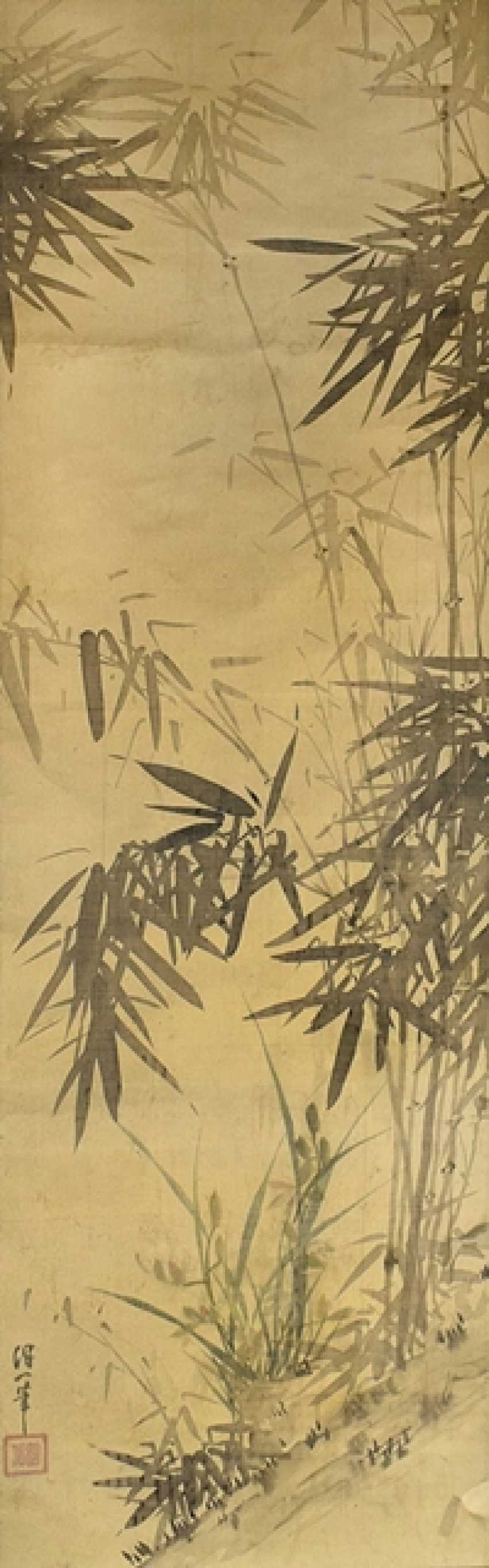 As a hanging scroll mounted painting of bamboo - photo 1