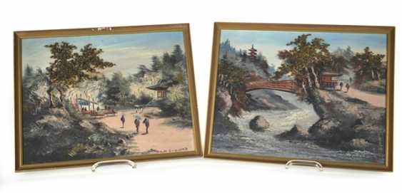 Pair of oil Paintings depicting two landscape scenes, framed - photo 1