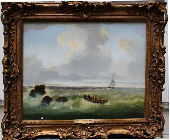Josef Carl Berthold Püttner (1821-1881), Fisher boats at stormy sea - photo 1