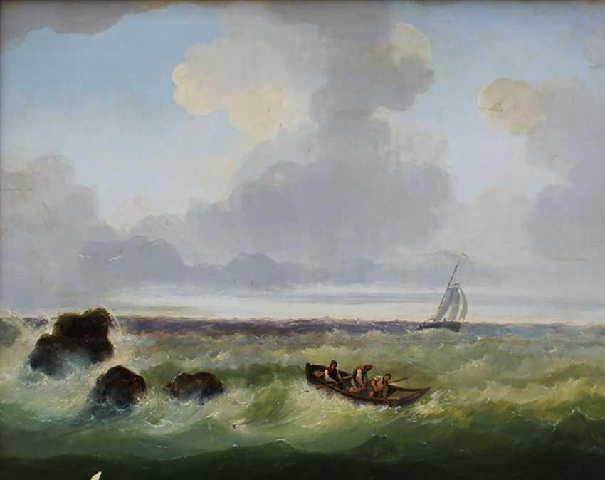 Josef Carl Berthold Püttner (1821-1881), Fisher boats at stormy sea - photo 2