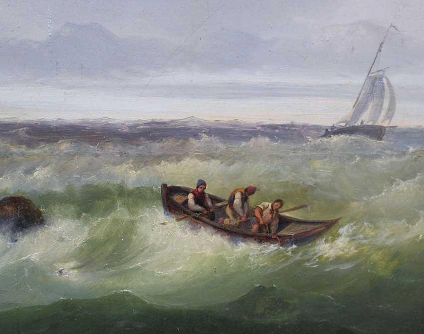 Josef Carl Berthold Püttner (1821-1881), Fisher boats at stormy sea - photo 3