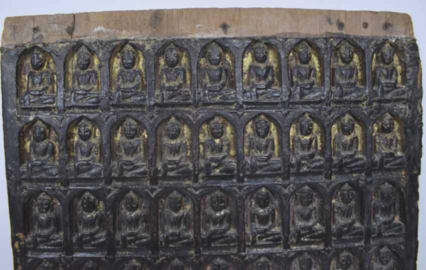 Relief panel in wood with Buddha-images with version - photo 2